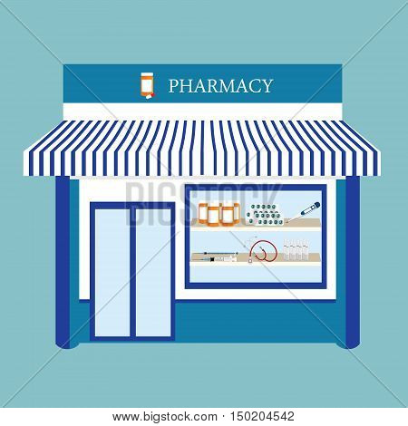 Vector illustration pharmacy drugstore shop facade. Pharmacy building on blue background