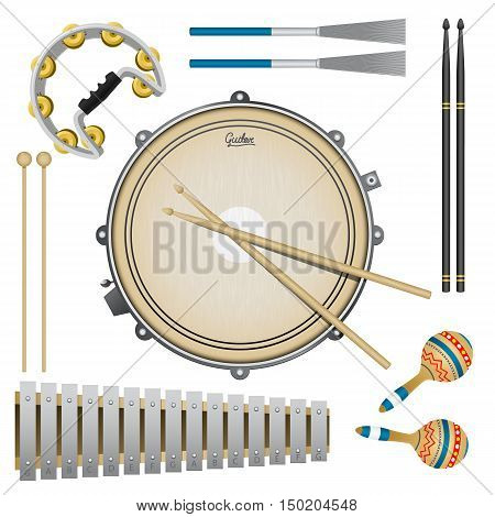 Set of percussion music instruments, drums, maracas, tambourine, drumsticks, metallophone