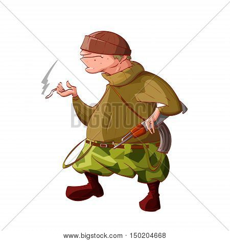 Colorful vector illustration of a cartoon rebel / separatist guerilla fighter. Wearing a hat sweater cammo pants boots. Smoking a cigarette and holding a automatic asault rifle.