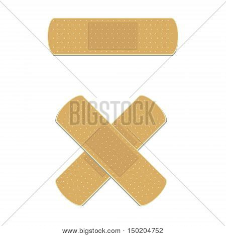 Vector illustration health care panel. Crossed medical plaster. Adhesive bandage