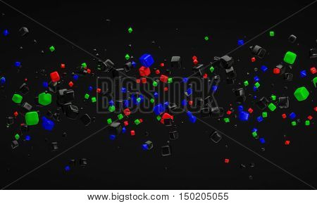 abstract RGB atom nano technology particle background 3d rendering