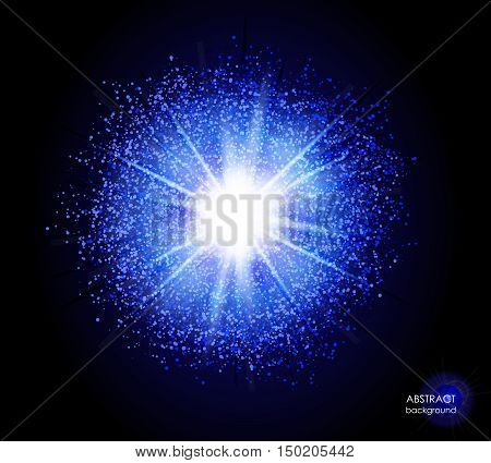 Explosion of supernova. Bright cosmic blue fire background. Glowing space. Bundle of energy. Cloud of dust and light on black. Fireworks, holiday.  Abstract composition. Vector illustration EPS 10