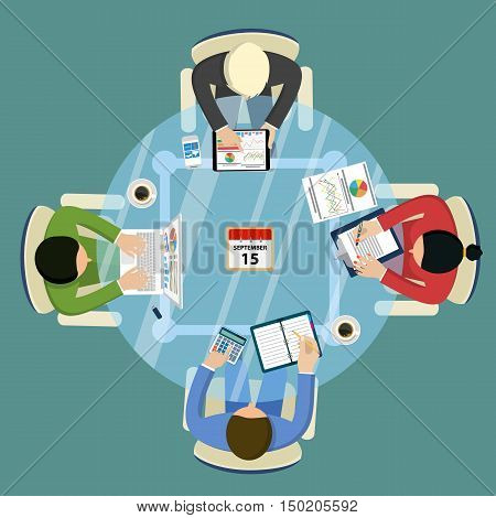 Teamwork analyzing, planning, analyzing project strategy brainstorming research development financial management, marketing research. Concept business. Vector illustration in flat design.