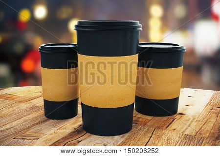 Black Take Away Coffee Cups