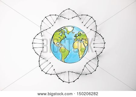 Top view of colorful globe sketch inside abstract black DNA circle on bright background. 3D Rendering