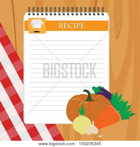 Recipe card. Kitchen note blank template vector illustration. Cooking notepad on table with tablecloth and vegetables