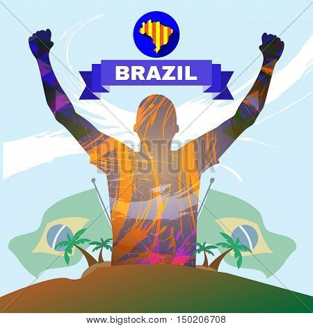Digital vector, abstract brazil winner sportman champion with hands in the air, country flag and palm trees, flat style