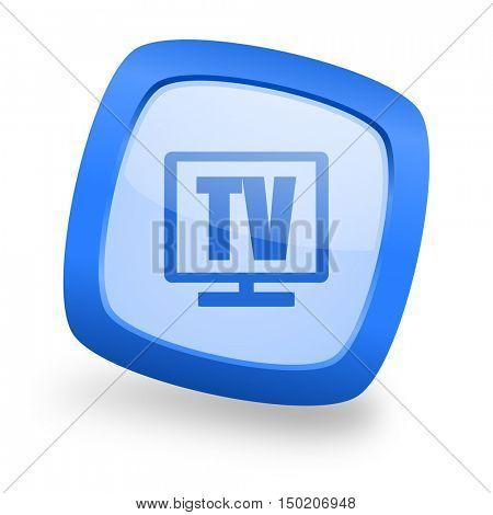 tv blue glossy web design icon