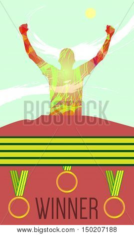 Digital vector, abstract winner sportman with hands in the air, medals, flat style