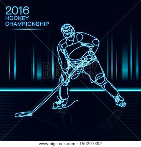 Ice Hockey 2016 Championship concept art one line Hockey player with neon effect hockey, ice hockey, player of hockey, light hockey, one line hockey, champion of hockey, hockey cup