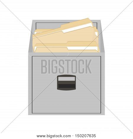 Vector illustration opened card catalog with file folders. Office furniture. Metal filing cabinet. Documents in folder
