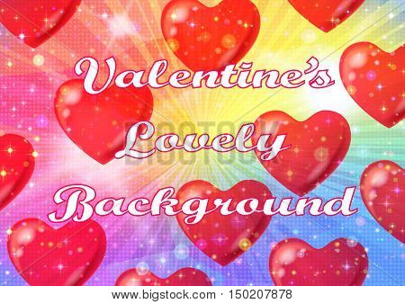 Valentine Holiday Background with Big Red Hearts, Sparks, Confetti and Colorful Light Rays. Eps10, Contains Transparencies. Vector