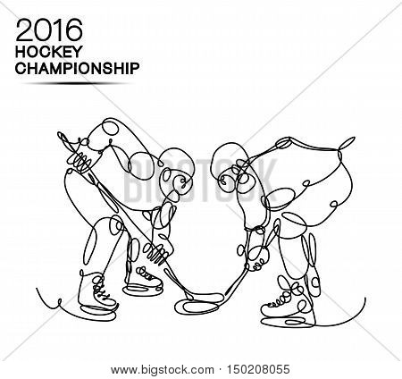 Ice Hockey 2016 Championship concept art one line Hockey players with neon effect hockey, ice hockey, player of hockey, light hockey, one line hockey, champion of hockey, hockey cup