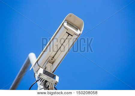 Cctv Security Camera Fixed On A Pole Metalic
