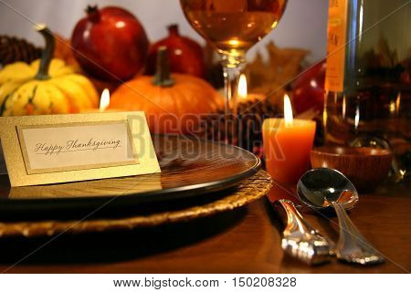 Place setting ready for Thanksgiving. Thanksgiving dinner celebration.