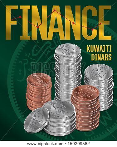 Kuwaiti Dinars Coins Stacks Cover Poster Design