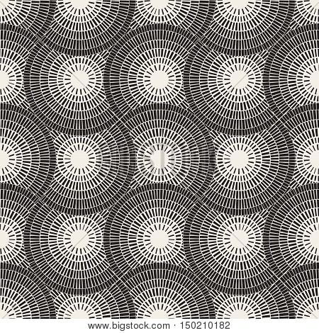 Vector Seamless Black and White Mosaic Radial Pavement Pattern. Abstract Geometric Background Design