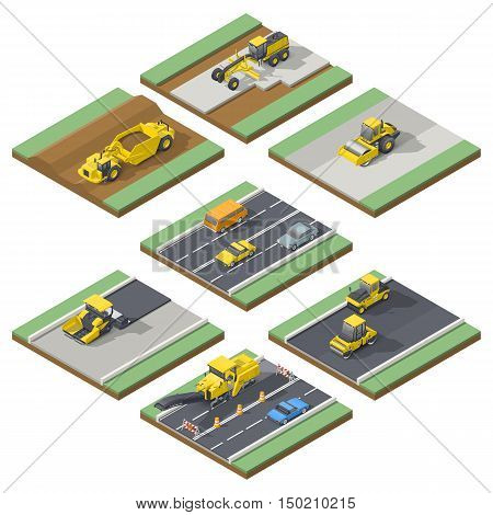 Isometric elements infographic showing the stages of construction or maintenance road with the appropriate using the technique vector grpahic illustration design