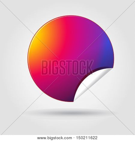 Circle Sticker in Instagram color new logo 2016 on grey background with shadow. Vector illustration. For web icon, button, print, label, tag, symbol, sticker, set, gallery, card, poster, flayer design.