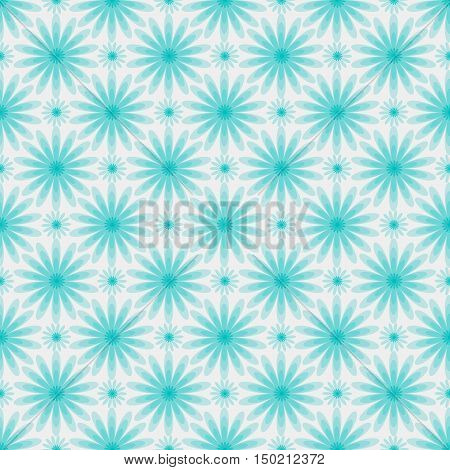 Delicate seamless background. Pale blue background with flowers. Vector illustration.