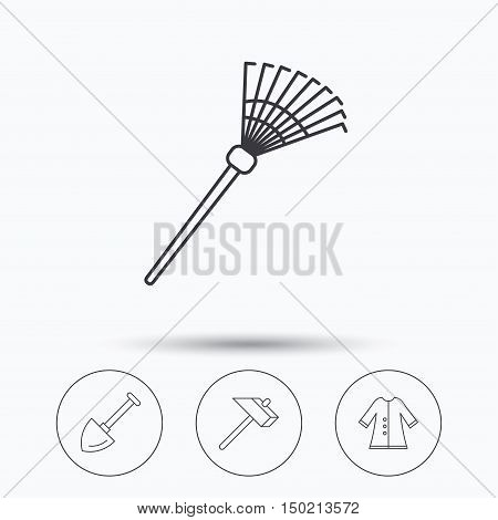 Shovel, hammer and cloak icons. Rake linear sign. Linear icons in circle buttons. Flat web symbols. Vector