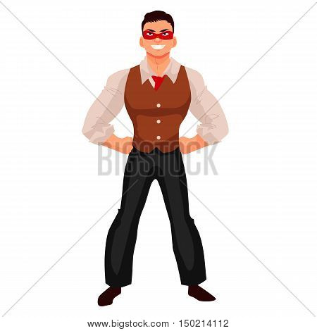 Male superhero cartoon style illustration isolated on white background. Ordinary person as superhero concept