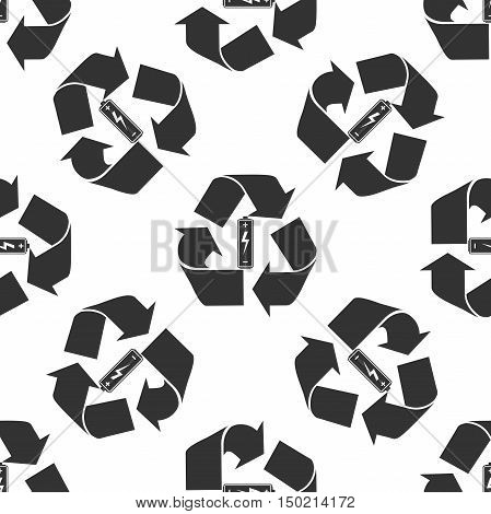 Battery with recycle symbol - renewable energy concept icon seamless pattern on white background. Vector Illustration
