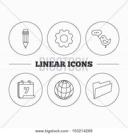 Pencil, message and world globe icons. Folder linear sign. Flat cogwheel and calendar symbols. Linear icons in circle buttons. Vector