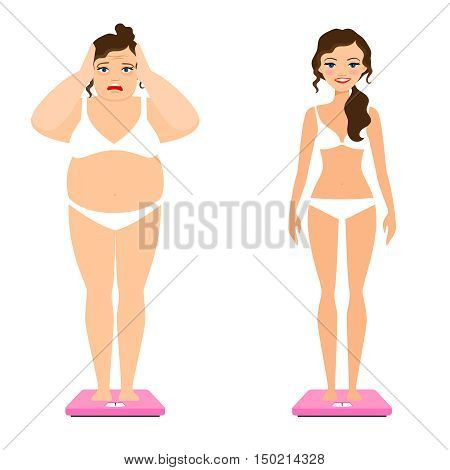 Women weight vector illustration. Slim woman and female overweight body on scale