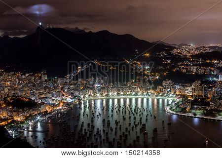 Rio de Janeiro at Night with Christ the redeemer Statue Lite Up