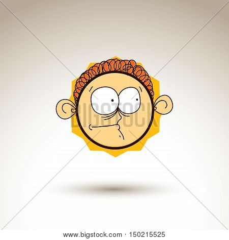 Vector Artistic Colorful Drawing Of Curious Person Face, Communication And Social Network Design Ele