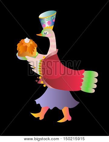 Fairy duck - mistress. Cute cartoon vector illustration.