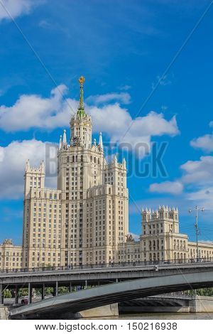 View from the river on one of the Stalin skyscrapers - residential building on the Kotelnicheskaya embankment