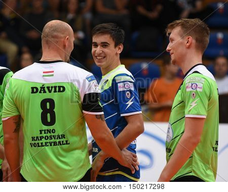 KAPOSVAR, HUNGARY - SEPTEMBER 30: Kaposvar players celebrate before a Hungarian National Championship volleyball game Kaposvar (green) vs. PEAC (white), September 30, 2016 in Kaposvar, Hungary.