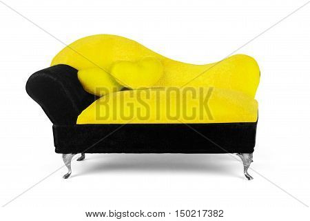 small yellow sofa over white background exclusive, creative,