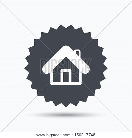 Home icon. House building symbol. Real estate construction. Gray star button with flat web icon. Vector