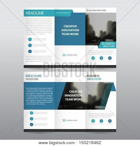 Blue business trifold Leaflet Brochure Flyer report template vector minimal flat design set abstract three fold presentation layout templates a4 size