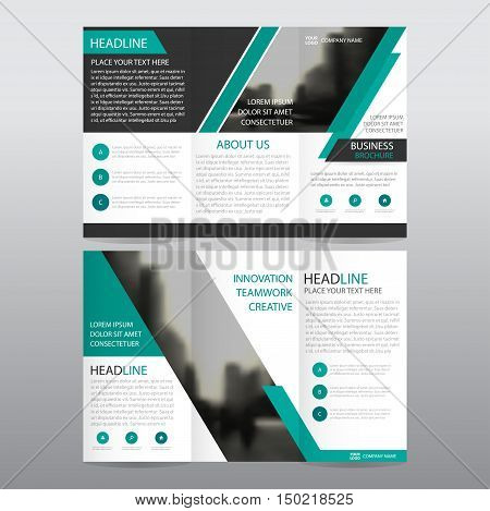 Green abstract business trifold Leaflet Brochure Flyer report template vector minimal flat design set abstract three fold presentation layout templates a4 size