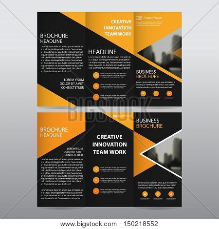 Orange triangle business trifold Leaflet Brochure Flyer report template vector minimal flat design set abstract three fold presentation layout templates a4 size