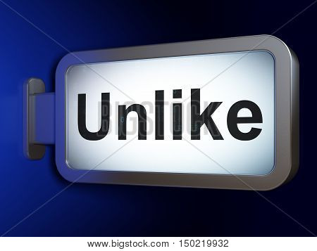 Social media concept: Unlike on advertising billboard background, 3D rendering