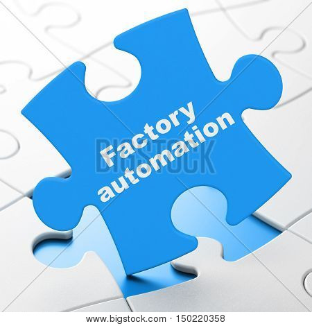 Industry concept: Factory Automation on Blue puzzle pieces background, 3D rendering