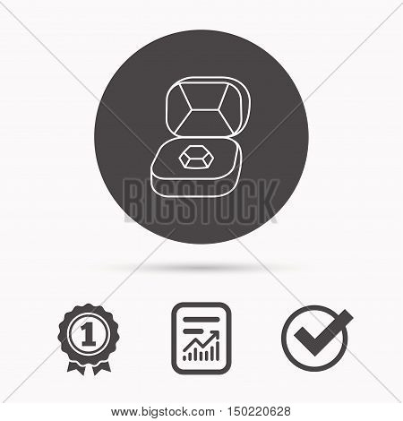 Brilliant jewellery icon. Engagement sign. Report document, winner award and tick. Round circle button with icon. Vector