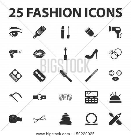 fashion, beuty, shoping 25 black simple icons set for web design