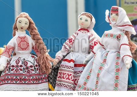 Traditional Belorussian rag dolls in national Belorussian clothes and patterns