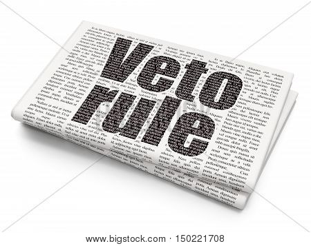 Political concept: Pixelated black text Veto Rule on Newspaper background, 3D rendering
