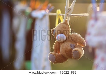 toy clothesline clothespin sunset time in autumn