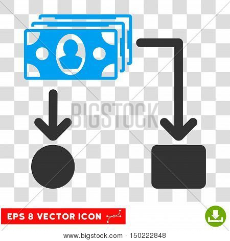 Cashflow vector icon. Image style is a flat blue and gray icon symbol.