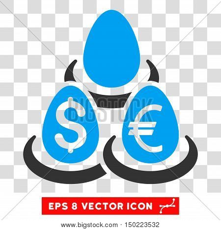 Currency Deposit Diversification vector icon. Image style is a flat blue and gray pictogram symbol.