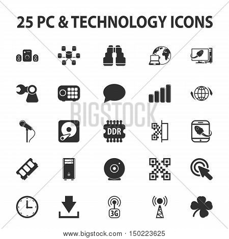 Computer, technology, pc 25 black simple icons set for web