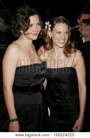 Maggie Gyllenhaal and Hilary Swank at the Paramount Pictures 2007 Golden Globe Award After-Party held at the Beverly Hilton Hotel in Beverly Hills, USA on January 15, 2007.